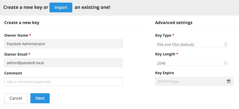 Generate a key