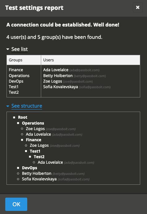 Ldap: test settings screenshot