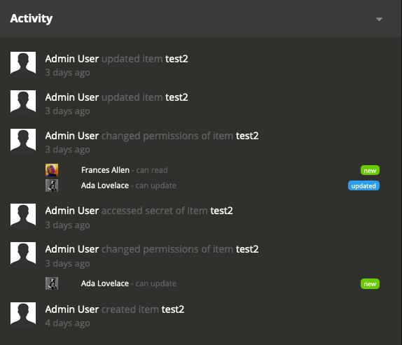 Audit log: resource activity screenshot