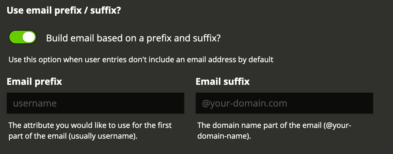 Use email prefix / suffix option in ldap
