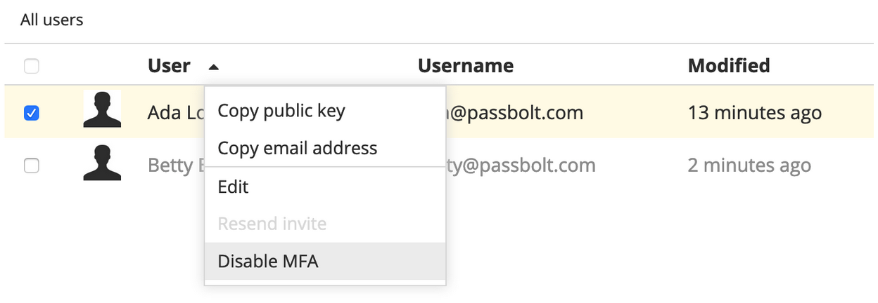 Disable MFA option menu