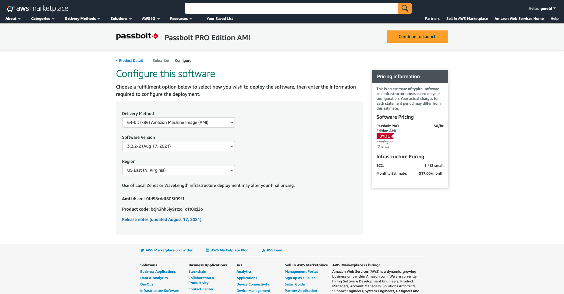 Configure instance region and version