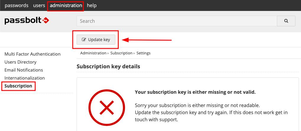 Update subscription key administration screen